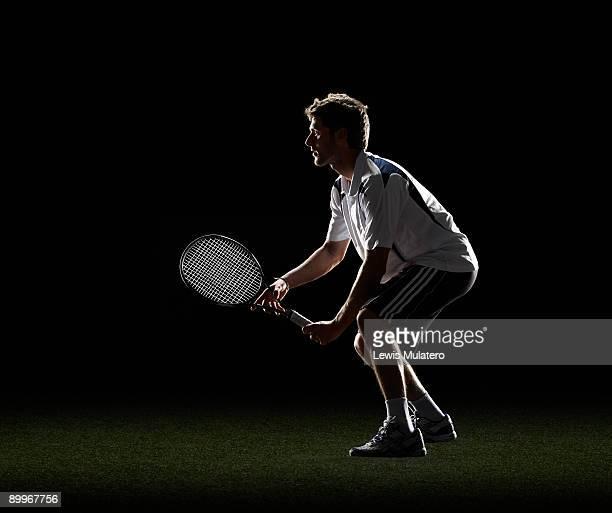 tennis player waiting for a serve - trefferversuch stock-fotos und bilder