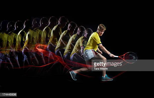 tennis player with multiple strobe