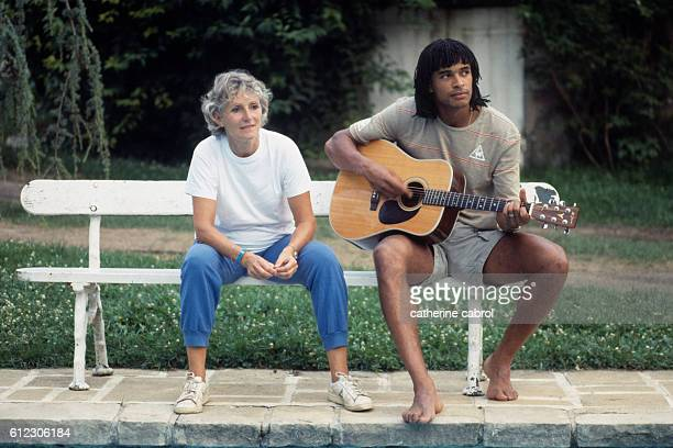 Tennis player Yannick Noah and his mother Marie-Claire Noah in the countryside in Normandy.