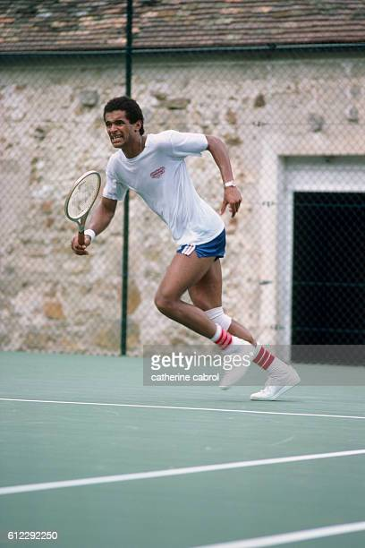 Tennis player Yannick Noah trains in the countryside in Normandy.