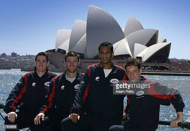 Tennis players Alan Mackin Miles Maclagan Arvind Palmer and Alex Bogdanovic of England pose in front of the Sydney Opera house in Sydney Australia on...
