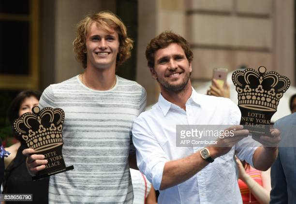 Tennis players Alexander and Mischa Zverev of Germany participate in the Lotte New York Palace Invitational Badminton Tournament at the Lotte New...