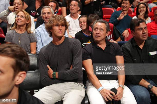 Tennis Players Alexander Zverev and Patricio Apey attend the New York Knicks game against the Miami Heat on March 21 2018 at American Airlines Arena...
