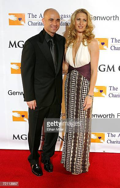 Tennis players Andre Agassi and wife Steffi Graf arrive at the 11th annual Andre Agassi Charitable Foundation's Grand Slam benefit concert at the MGM...