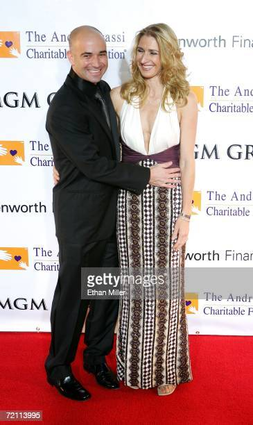 Tennis players Andre Agassi and wife Steffi Graf arrives at the 11th annual Andre Agassi Charitable Foundation's Grand Slam benefit concert at the...