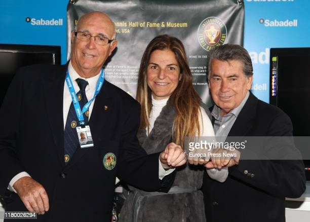 Tennis players Andres Gimeno Arantxa Sánchez Vicario and Manuel Santana in a tribute to Gimeno at the Conde de Godo tennis tournament in 2011 in...
