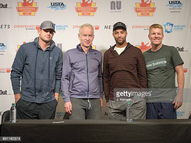 Tennis players Andy Roddick John McEnroe James Blake and Jim Courier attend the 2016 PowerShares QQQ Cup at Barclays Center of Brooklyn on January 7...