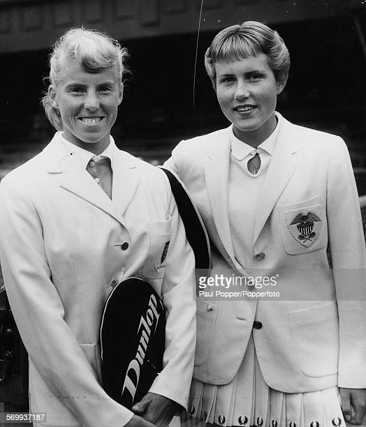 Tennis players Ann HaydonJones of England and Karen Hantze Susman of the United States posed together before their Wightman Cup match at Wimbledon...