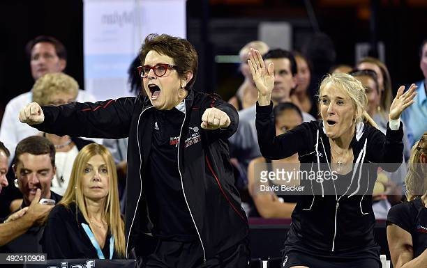 Tennis players Billie Jean King and Tracy Austin react after a point is scored at the Mylan World TeamTennis Smash Hits charity tennis event at...
