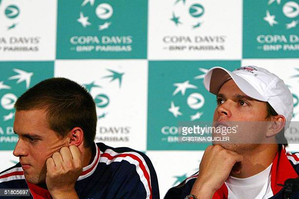 US tennis players brothers Mike Bryan and Bob Bryan are seen during a press conference ahead of the Davis Cup final vs Spain next weekend in Seville...