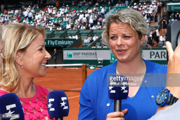Tennis players Chris Evert and Kim Clijsters answer to journalists before the Women Final of the 2018 French Open Day Fourteen at Roland Garros on...