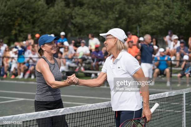 Tennis Players Chris Evert and Martina Navratilova attend the 4th Annual JMTP ProAm In The Hamptons on August 25 2018 in Amagansett New York