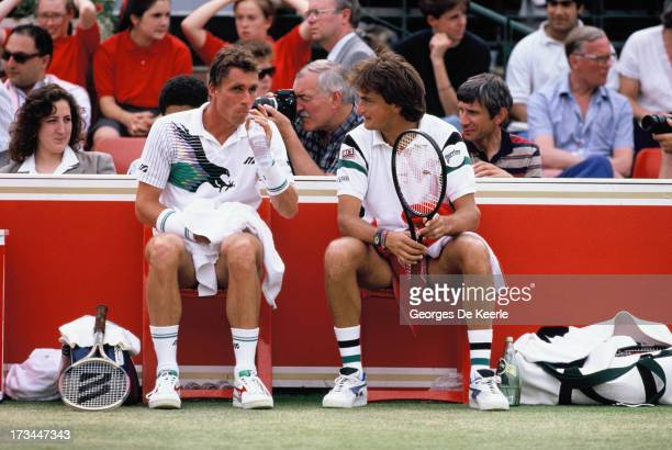 Tennis players Ivan Lendl and Henri Leconte during a break of the final match of the Men's Doubles at the Stella Artois Championships held at Queen's...