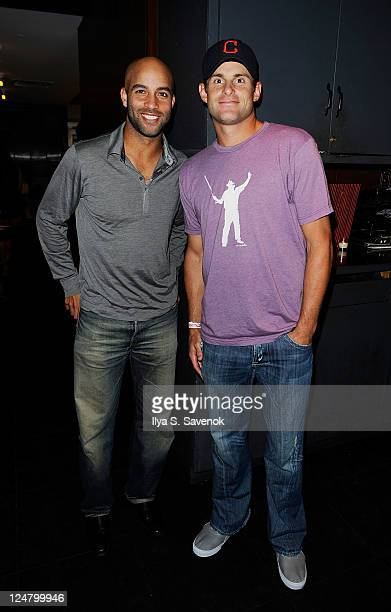 US tennis players James Blake and Andy Roddick attend the James Blake Foundation Annual Charity Event at Las Chicas Locas on September 12 2011 in New...