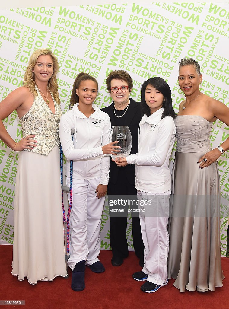Tennis players Katrina Adams (R) and Coco Vandeweghe (L) and Billie Jean King (C) pose backstage with the Individual Sportswoman of the Year Award presented to Serena Williams during the 36th Annual Salute to Women In Sports at Cipriani Wall Street on October 20, 2015 in New York City.