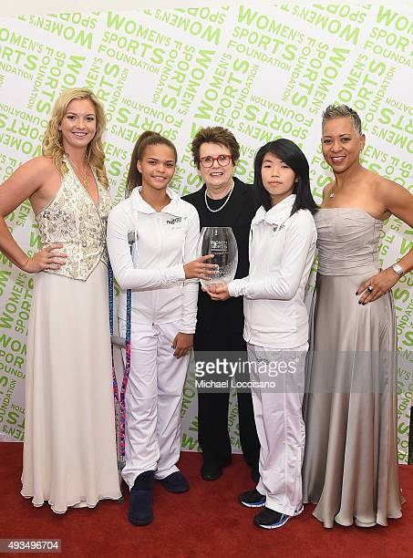 Tennis players Katrina Adams and Coco Vandeweghe and Billie Jean King pose backstage with the Individual Sportswoman of the Year Award presented to...