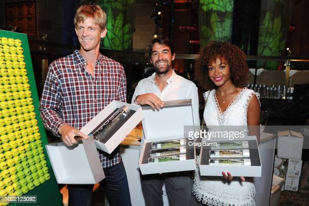 Tennis players Kevin Anderson and Jeremy Chardy and model Susan Gossage Chardy attend the Citi Taste Of Tennis gala on August 23 2018 in New York City