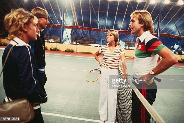 Tennis players Mariana Simionescu Björn Borg Chris EvertLloyd and John Lloyd in a marquee in Battersea Park London to compete in the Love Doubles...