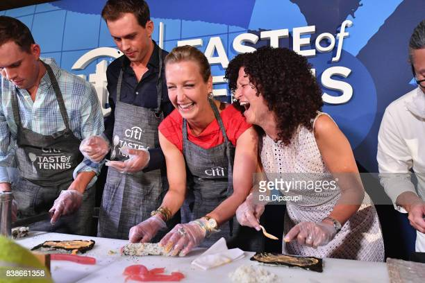 Tennis players Mike and Bob Bryan Lara Spencer and Michele Imbasciani give a cooking demo at the Citi VIP Lounge at Taste Of Tennis at W New York on...