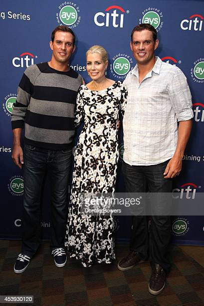 Tennis players Mike Bryan and Bob Bryan and Aviva Drescher attend Taste Of Tennis Week Taste Of Tennis Gala at the W New York on August 21 2014 in...