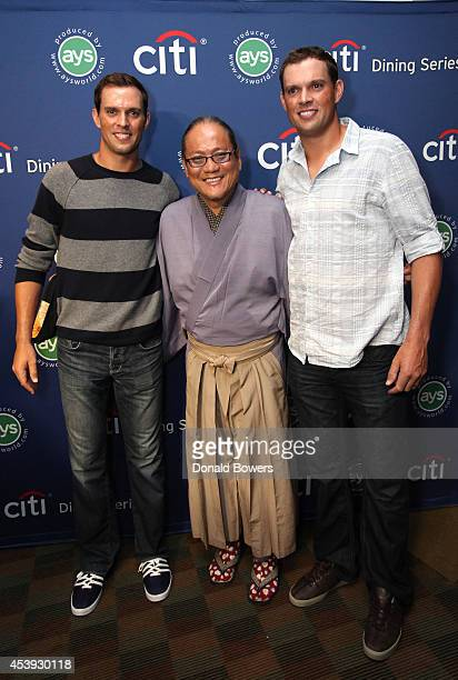 Tennis players Mike Bryan and Bob Bryan and chef Masaharu Morimoto attend Taste Of Tennis Week Taste Of Tennis Gala at the W New York on August 21...