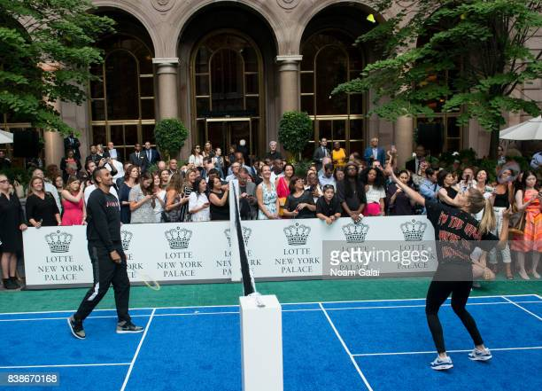 Tennis players Nick Kyrgios and Eugenie Bouchard play badminton during the 2017 Lotte New York Palace Invitational at Lotte New York Palace on August...