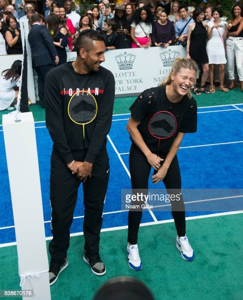 Tennis players Nick Kyrgios and Eugenie Bouchard pose for a photo during the 2017 Lotte New York Palace Invitational at Lotte New York Palace on...