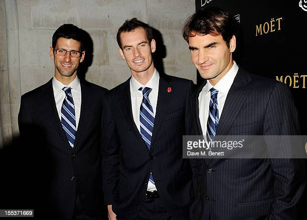 Tennis players Novak Djokovic Andy Murray and Roger Federer attend the Barclays ATP World Tour Finals Gala hosted by Great Ormond Street Hospital...