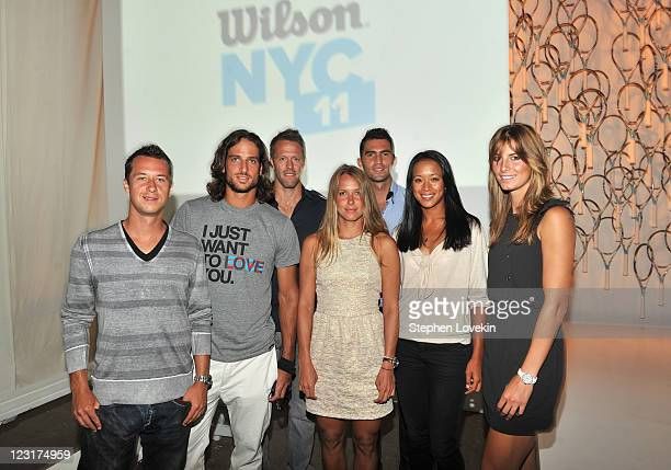 Tennis players Philipp Kohlschreiber Feliciano Lopez Robert Lindstedt Barbora Zahlavova Strycova Horia Tecau Anne Keothavong and Mandy Minella attend...