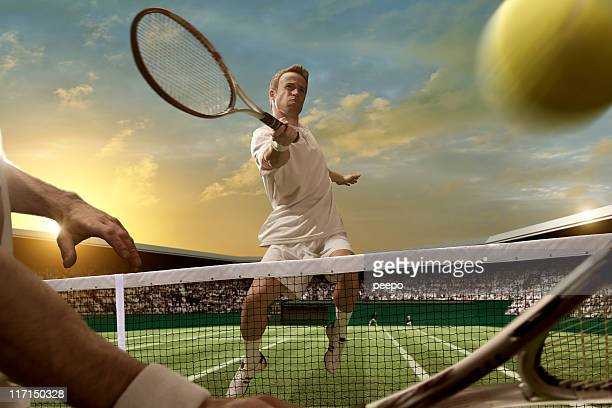 tennis players - taking a shot sport stock pictures, royalty-free photos & images