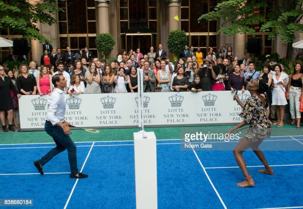 Tennis players Rafael Nadal and Venus Williams play badminton during the 2017 Lotte New York Palace Invitational at Lotte New York Palace on August...
