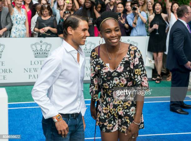 Tennis players Rafael Nadal and Venus Williams pose for a photo during the 2017 Lotte New York Palace Invitational at Lotte New York Palace on August...