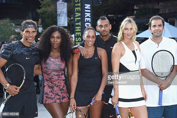 Tennis players Rafael Nadal Serena Williams Madison Keys Nick Kyrgious Maria Sharapova and Pete Sampras attend Nike's 'NYC Street Tennis' event on...