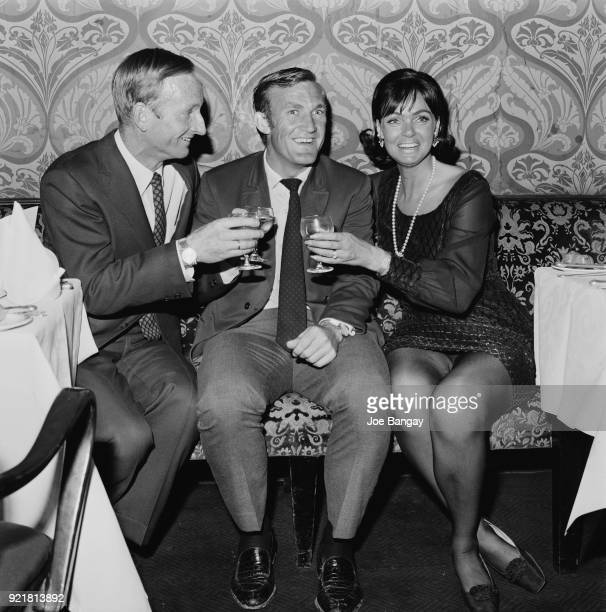 Tennis players Rod Laver Tony Roche and Laver's wife Mary Benson celebrate after Wimbledon Championships London UK 5th July 1968