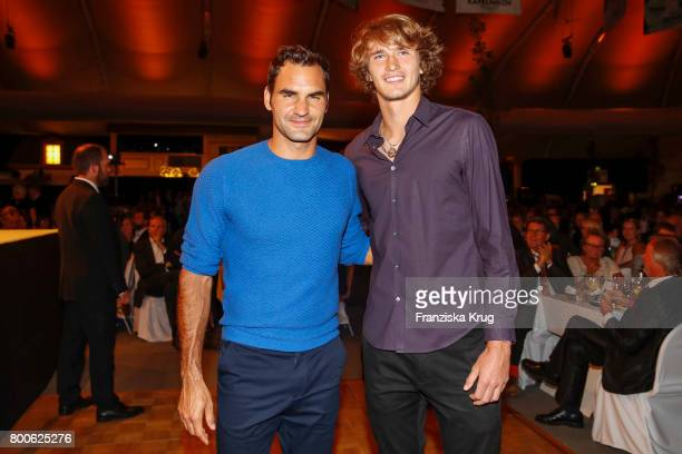 Tennis players Roger Federer and Alexander Zverev attend the Gerry Weber Open Fashion Night 2017 during the Gerry Weber Open 2017 at Gerry Weber...