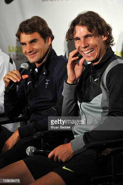 Tennis players Roger Federer and Rafael Nadal attend a press confrence at the Nike Tennis Primetime Knockout event at Pier 54 on August 25 2010 in...