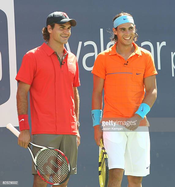 Tennis players Roger Federer and Rafael Nadal attend the 2008 Arthur Ashe Kids Day at the USTA Billie Jean King National Tennis Center on August 23...