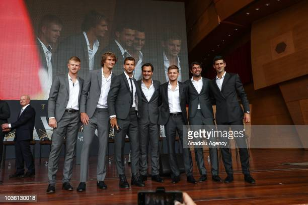 Tennis players Roger Federer Novak Djokovic Alexander Zverev Grigor Dimitrov David Goffin Kyle Edmund and Jeremy Chardy and Australian tennis legend...