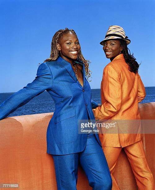 Tennis players Serena Williams and Venus Williams are photographed for Essence Magazine on April 2 2001 at Raleigh Hotel Miami Florida PUBLISHED IMAGE