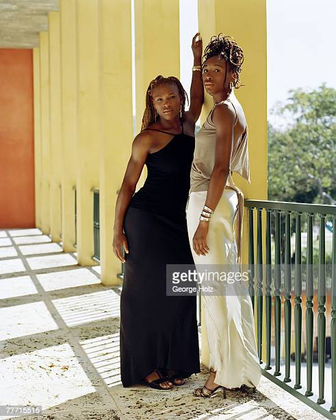 Tennis players Serena Williams and Venus Williams are photographed for Essence Magazine on April 2 2001 at Raleigh Hotel Miami Florida