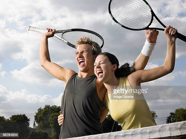Tennis players shouting