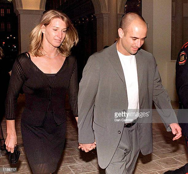 Tennis players Steffi Graf and Andre Agassi leave the Venetian Hotel September 24 1999 in Las Vegas NV Graf gave birth to a healthy son Jaden Gil...