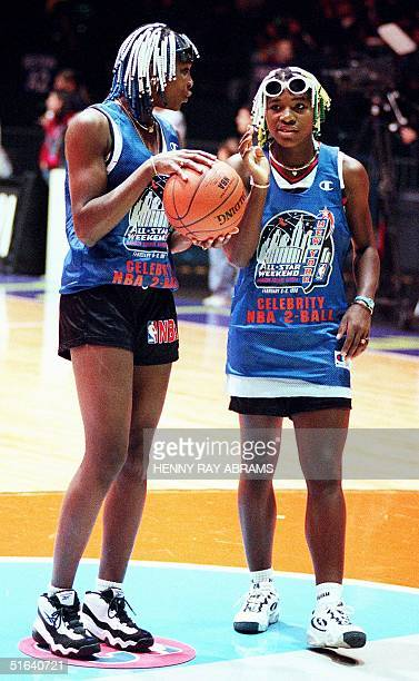 Tennis playing sisters Venus and Serena Williams practice before competing in the Celebrity 2ball competition held in conjunction with the NBA...