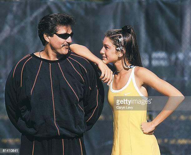 Tennis Portrait of Monique Viele with father Rick Pompano Beach FL 3/17/1999