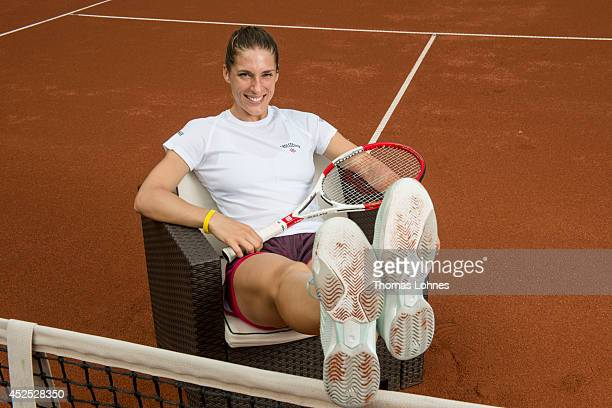 Tennis pro Andrea Petkovic pictured after a press conference and training organised by her sponsor 'Gerolsteiner' on a tennis court of the 'Hessian...