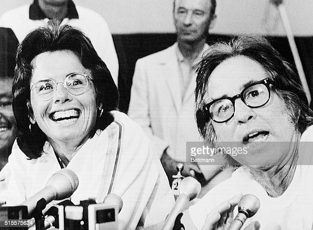 Tennis pro Billie Jean King laughs as Bobby Riggs tells how he intends to beet Ms King in their $100000 winnertakeall match in the Astrodome 9/20 The...
