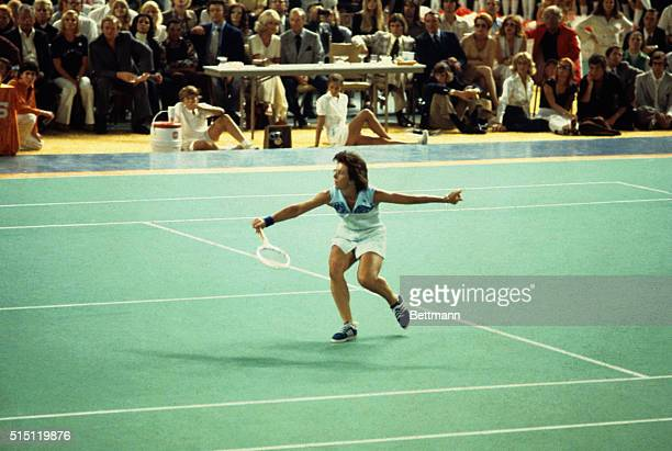 Tennis pro Billie Jean King shows her winning style while beating Bobby Riggs in their $100000 winnertakeall match in the Astrodome Mrs King beat the...