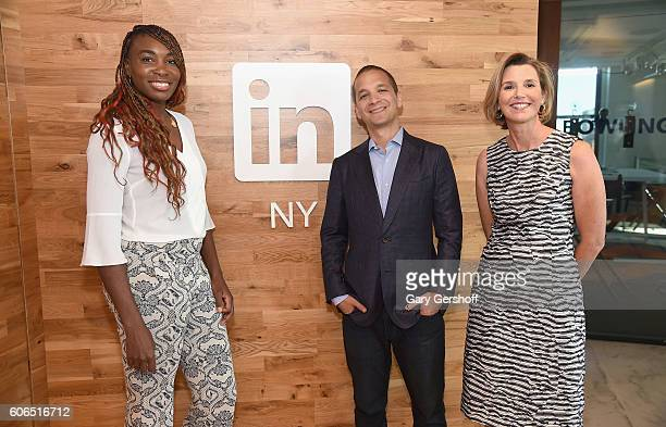 Tennis pro Venus Williams LinkedIn Executive Editor Dan Roth and CEO and CoFounder of Ellevest Sallie Krawcheck pose for a picture at LinkedIn on...