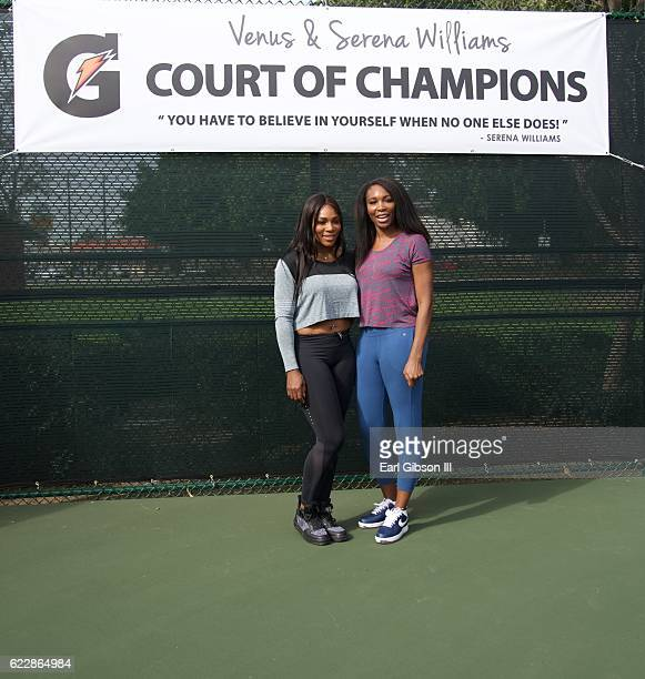 Tennis Professionals Serena Williams and Venus Williams attend the Court Dedication and Healthy Compton Festival at MLK Transit Center Plaza on...
