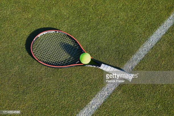 tennis racket and ball still life with long shadow on grass lawn tennis court - ラケット ストックフォトと画像